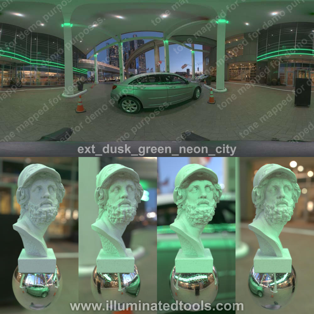 ext dusk green neon city