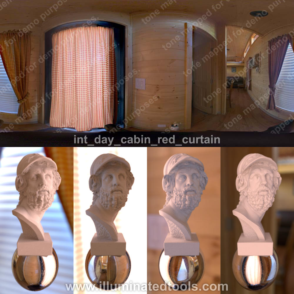 int day cabin red curtain